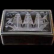 Vintage Ceramic Ship Box, Gustavsberg, Sweden.