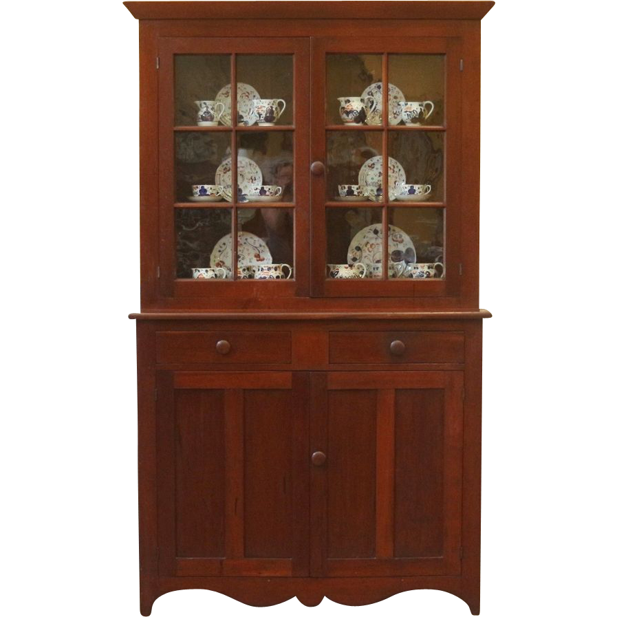 Antique American Step Back Cupboard Hutch China Cabinet
