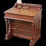 Antique Davenport Desk, Eastlake Style, Slant Top, American C.1880