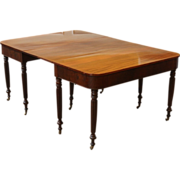 Antique English Mahogany Sheraton Dining Table, 2 Part D End.