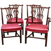 Antique Mahogany Chippendale Style Dining Chairs, Set of 4.