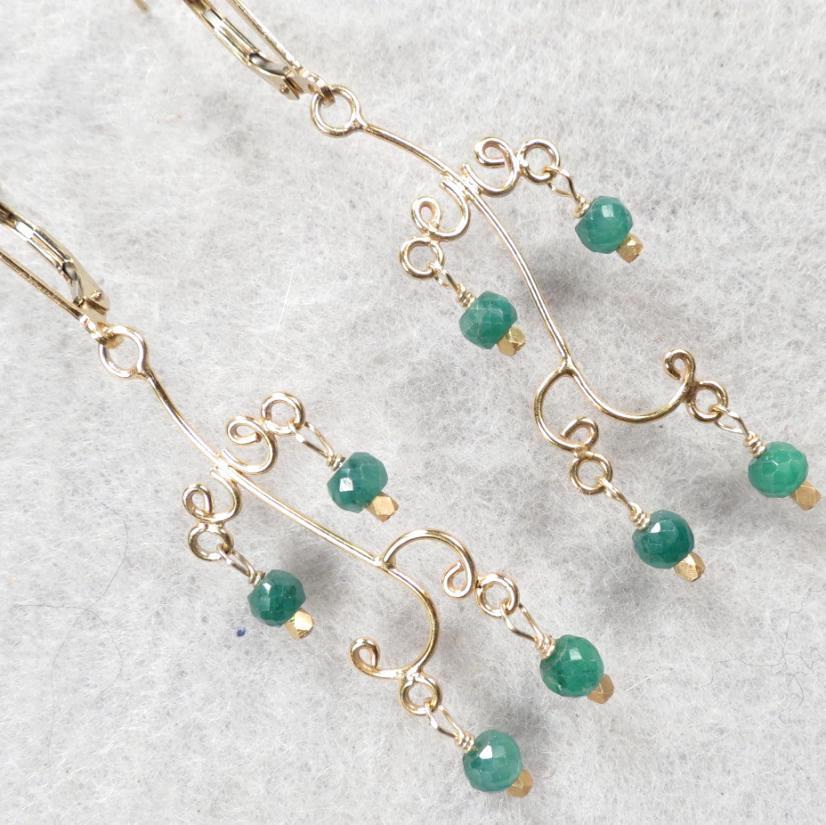 HELEN'S EMERALDS Earrings Emerald 24K GV Lightweight