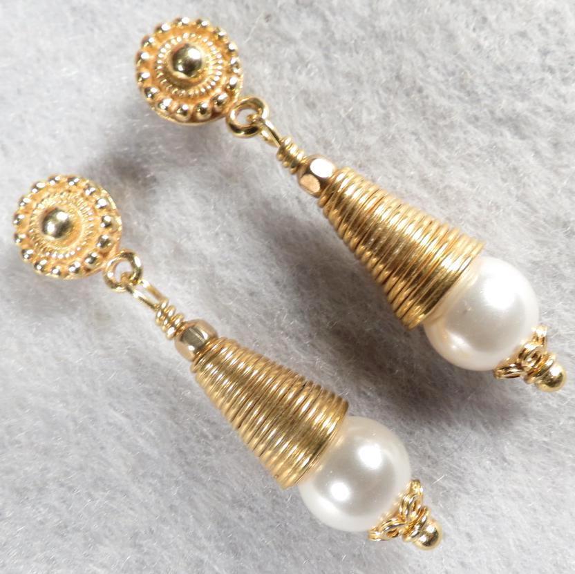 Catherine Parr Earrings Swarovski Crystal Pearl 24K GV Tudor Renaissance Style