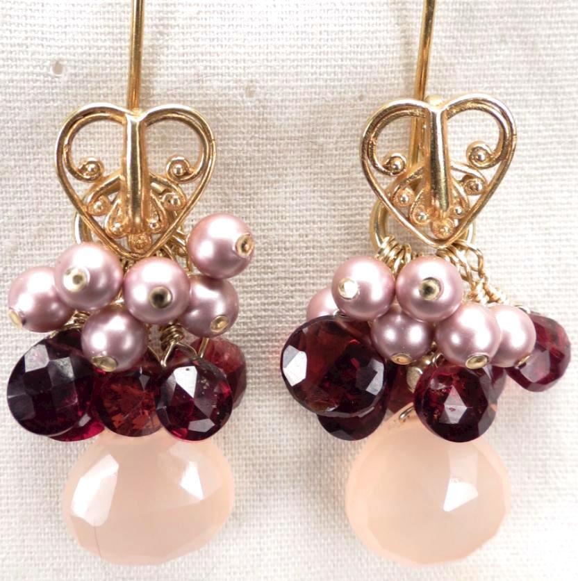 LOVE MEDICINE Earrings Garnet Pink Chalcedony Swarovski Crystal Pearl 24K GV