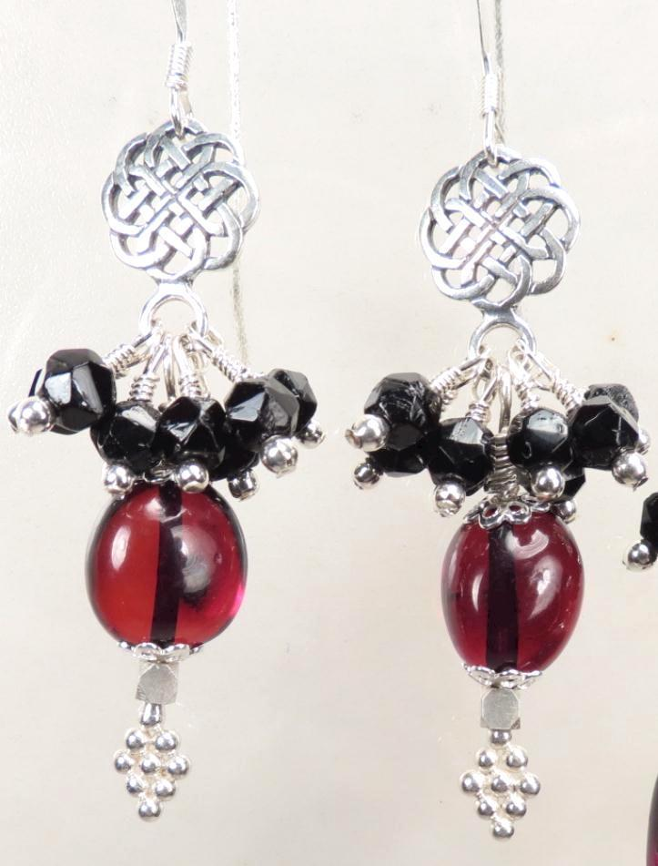 MORRIGAN Earrings Antique British Victorian Jet Cherry Amber Celtic Medieval Style OOAK