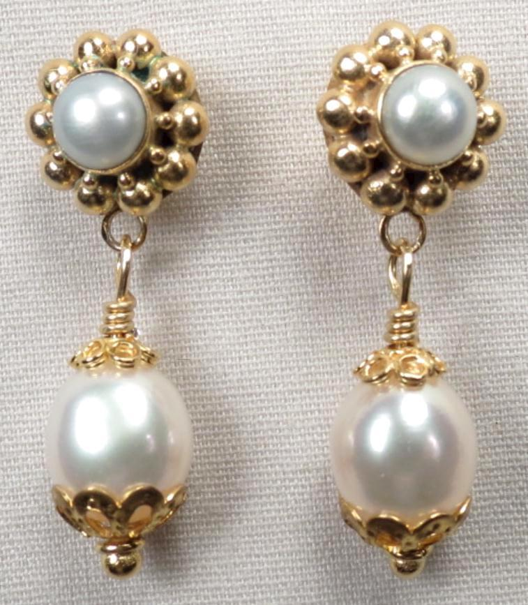 TUDOR PEARL Earrings Cultured Freshwater Pearl Drop  24K GV Renaissance Style