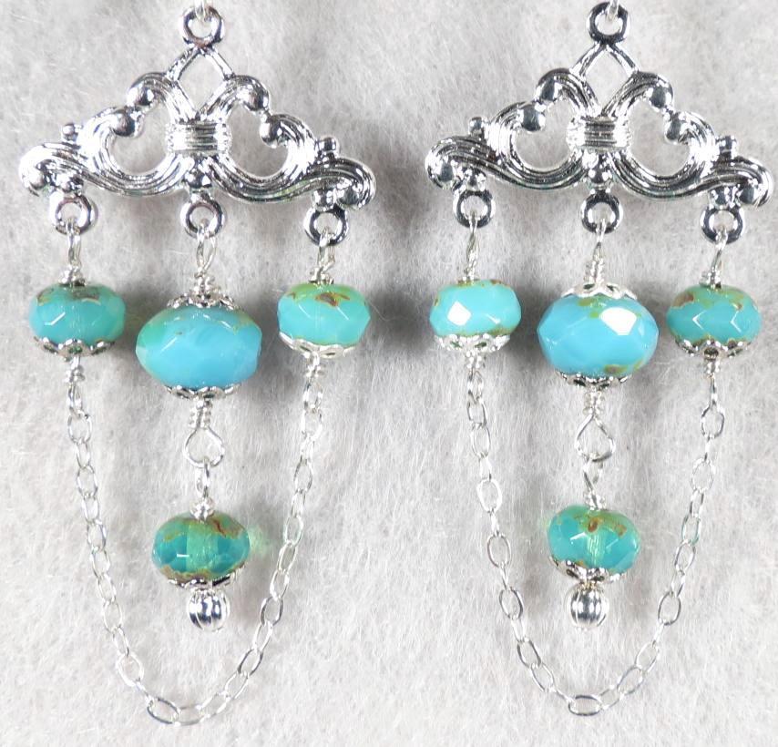 Aegina Earrings Czech Art Glass Silvertone Chandelier
