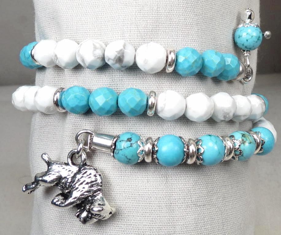 White Buffalo Woman Coil Bracelet Turquoise Howlite Buffalo Charm Lakota Goddess