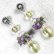 CALABRIA Earrings Lemon Quartz Purple Quartz Nephrite Jade Silver