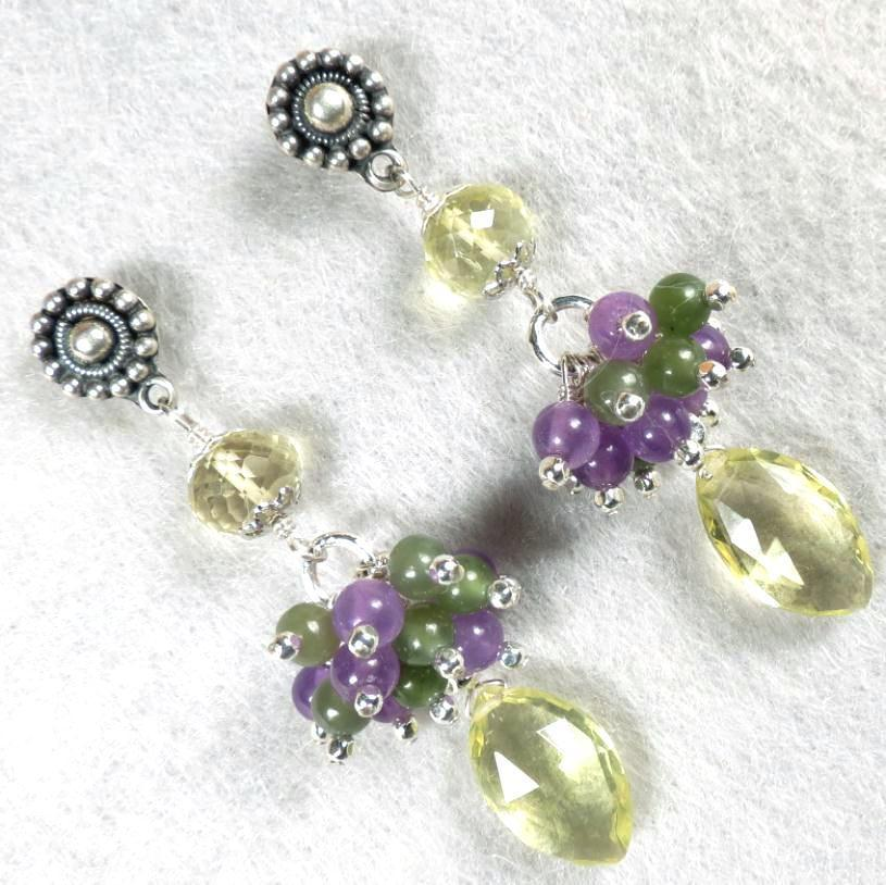 CALABRIA Earrings Lemon Quartz Purple Quartz Nephrite Jade Silver