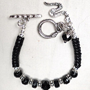 'Snake' Bracelet Vintage French Jet Glass British Victorian Whitby Jet African Trade Beads