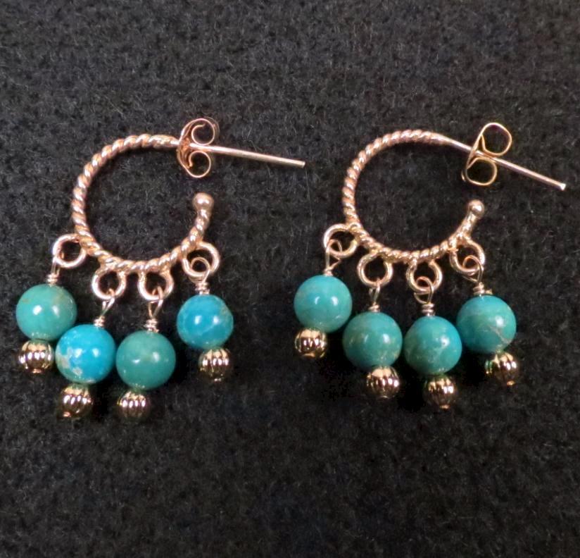 The Edge of the Gobi Earrings Chinese/Mongolian Turquoise 24K GV Hoops