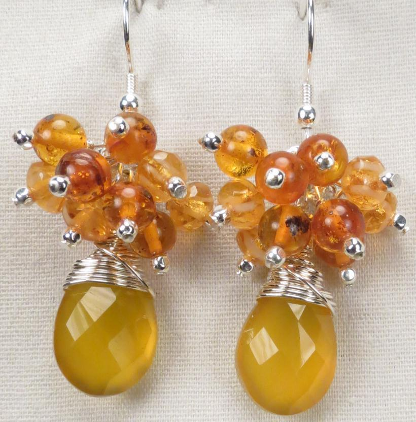 RUSSIAN HONEY Earrings Honey Chalcedony Baltic Amber Czech Art Glass