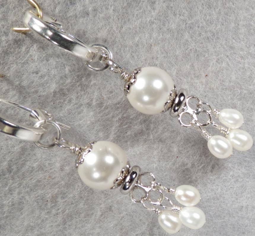 TUDOR PEARL Hoop Earrings 2 Swarovski Crystal Pearl Silver Tudor Renaissance Style