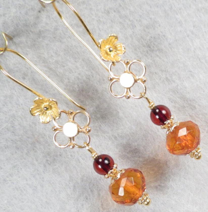 FREYA'S FLOWERS Earrings Baltic Vintage Faceted Honey & Cherry Amber Norse Medieval Style