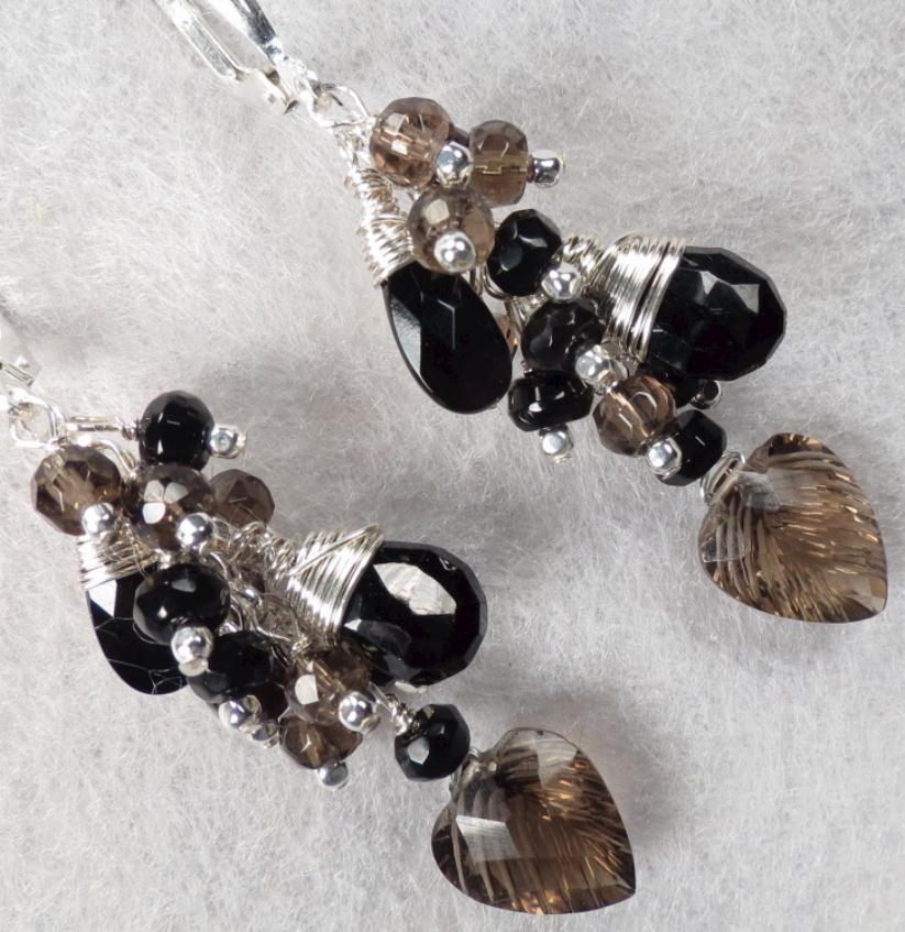 SMOKE & MIRRORS Smoky Quartz Black Spinel Black Onyx Cascade Earrings