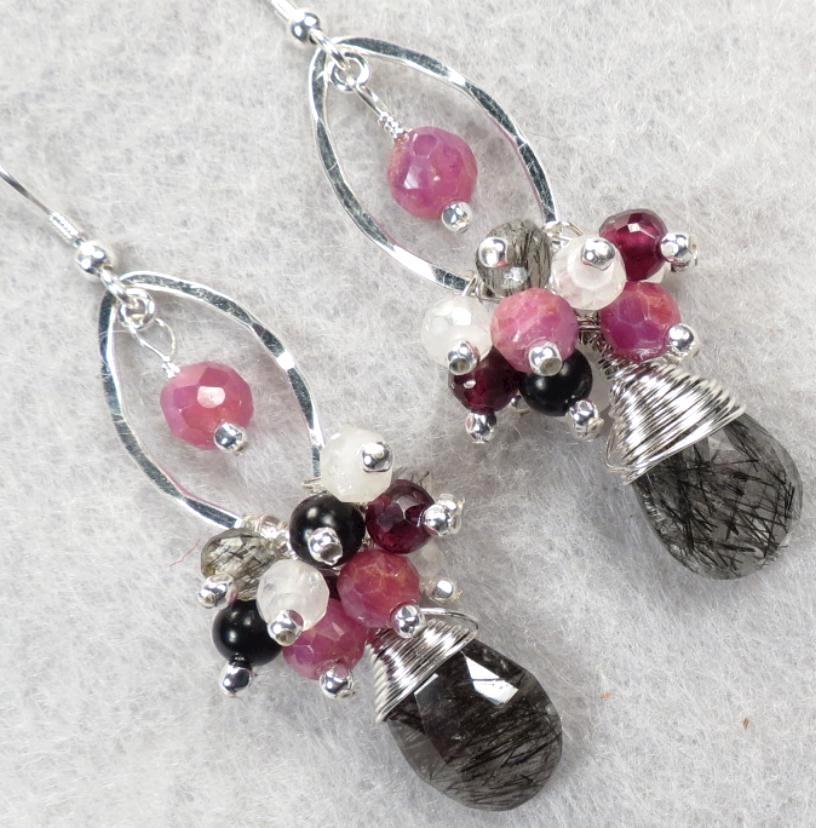 WISE CRONE Earrings Ruby Tourmalinated Quartz Rutilated Quartz Garnet Rainbow Moonstone