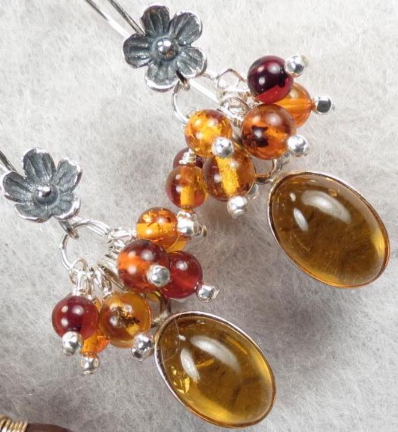 FREYA'S FLOWERS Earrings Baltic Honey & Cherry Amber Norse Medieval Style