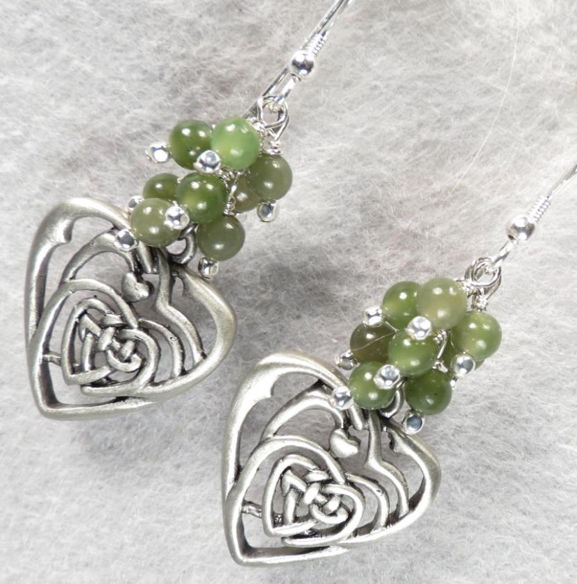 ISOLDE Earrings Green Nephrite Jade Celtic Medieval Style Pewter & Silver