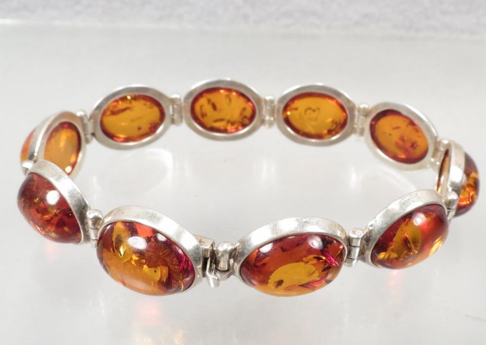 Baltic Amber Vintage Bracelet Sterling  Made in Poland