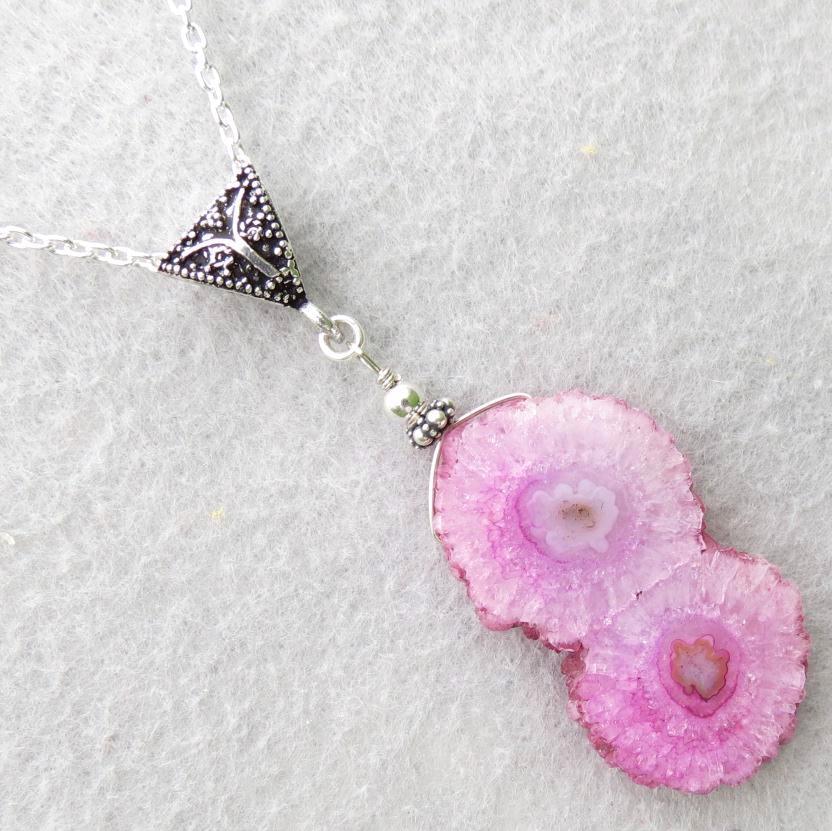NAHEMA Pendant Necklace Pink Solar Quartz Geode Silver