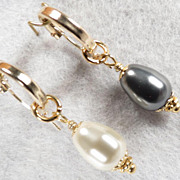 Venus At A Mirror Earrings Black & White Swarovski Crystal Pearls 14K GF Hoops