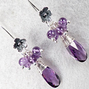 Anne Boleyn Wears Purple - Violet Cubic Zirconia Amethyst Earrings Tudor Renaissance Style