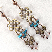ALIENA Medieval Style Earrings Copper Bronze Teal Czech Cathedral Beads