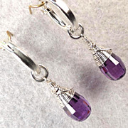 Anne Boleyn Wears Purple Earrings Violet Cubic Zirconia SSF Hoops Tudor Renaissance Style