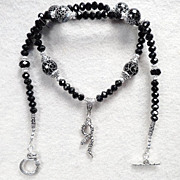Serpents of Ireland Necklace Black Snakeskin Agate Jet Crystal Celtic Medieval Style
