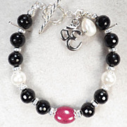 GODDESS KALI Bracelet Gem Ruby Natural Jet Cultured Pearl Om Charm