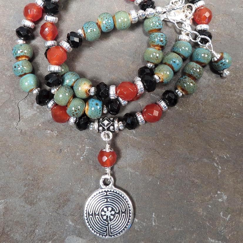 Necklace Carnelian Celadon Ceramic Ancient Minoan Labyrinth Goddess