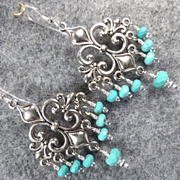 MELUSINE Earrings Fleur-De-Lys Magnesite Turquoise Medieval Water Enchantress