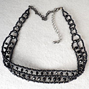 Victorian/Edwardian Antique French Jet Mourning Choker - Petite