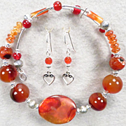 LADY FIREHEART Set Spiderweb Carnelian Spice Garnet Banded Agate Set Collar Earrings Medieval Style