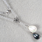 Venus At A Mirror Necklace Black & White Shell Pearls Inspired By Rubens