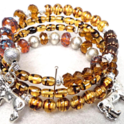 England My Lionheart Coil Bracelet Vintage Tortoiseshell Glass Czech Tawny & Topaz Art Glass Lion Charms