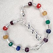 CHAKRA KUNDALINI Bracelet Chakra Gems DNA Double Helix Charm
