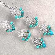 My Medieval Heart Earrings Mongolian Turquoise Silver Filigree Medieval Style