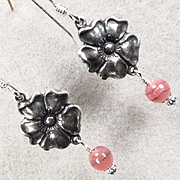 TUDOR ROSE Earrings Rhodochrosite Roses Silver Renaissance Style
