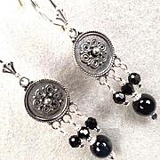 ESCLARMONDE Earrings Midnight-Blue Tiger Eye Sterling Shields Medieval Byzantine Style