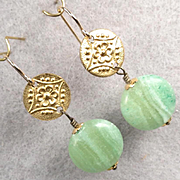 Queen Of Sheba Petite Earrings African Green Hemimorphite Hammered Brass Ancient Biblical Queen