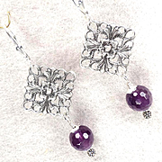 Anne Boleyn Wears Purple Earrings Violet Amethyst Filigree Charms Tudor Renaissance Style