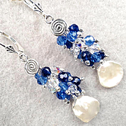 ARIANRHOD Of The Silver Wheel 2 Earrings Cultured Coin Pearls Sapphire-Blue Crystals Celtic Moon Goddess