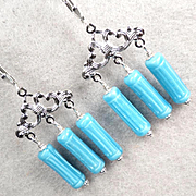 AEGINA Earrings Sea-Blue Glass Columns Greek-Pattern Chandeliers