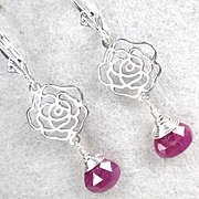 Isabella Longs For Love Earrings Ruby Briolettes Silver Roses Medieval Style