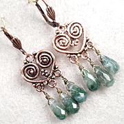 CLIODNA Of The Waves Earrings Green Moss Agate Copper Bronze Celtic Medieval Style