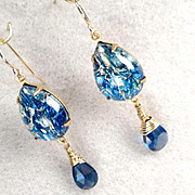 MELUSINE Earrings Deep Blue CZ Briolettes 1950s Vintage Swirled Glass Medieval Water Enchantress