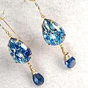 MELUSINE Earrings Deep Blue CZ Briolettes 1950s Vintage Swirled Glass Medieval Water Enchantress