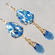 MELUSINE Earrings Blue Crystal Briolettes 1950s Vintage Swirled Glass Medieval Water Enchantress